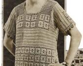 Downton Jumper 1920s Vintage Crochet  Pattern Tunic Sweater in Lace  pdf  Block Filet
