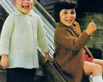 Vintage Knitting Pattern Toddlers Coat to Knit Simple Knitting pdf Download