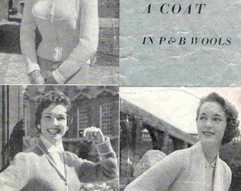 Vintage Knitting Pattern Pdf Jackets Coats Cardigan 1950s