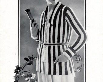 Downton Striped Sports Cardigan Jacket 1921 Vintage Knitting Pattern PDF Instant Download