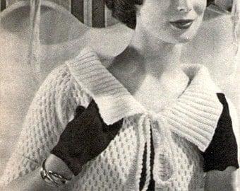 PDF Vintage Knitting  Pattern Ladies Bolero Shrug Jacket Italian Style 1957 Instant Download