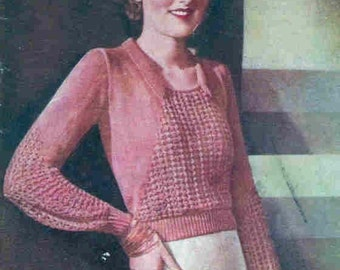 1934 Vintage Afternoon Tea Sweater for a Dressy Lady Knitting Pattern PDF Digital Download