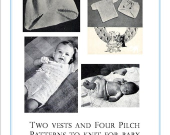 6 Patterns Baby Diaper Covers Pilch Pants Vests 1940s Vintage Knitting Patterns pdf  INSTANT DOWNLOAD