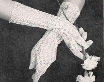 Crochet Gloves Princess 1940s Pdf Vintage Crochet Pattern Digital Delivery