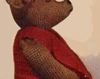 Vintage Crochet Pattern Teddy Bear Rare 1930 Ooshti  Pdf Digital  Download