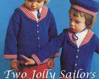 Childs Jolly Sailor Nautical Hats Jackets Vintage Knitting Pattern Pdf
