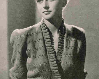 1950 Cardigan Vintage Knitting Pattern Bed Jacket  with Frilled Edge PDF INSTANT DOWNLOAD