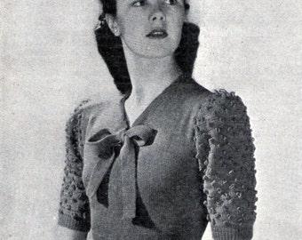 1946 ladies Bow Jumper Crochet Sleeves Vintage Knitting and  Crochet Pattern Pdf Digital  Download