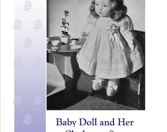 Baby Doll and Clothes Tutorial Vintage Sewing Pattern PDF Instant Download