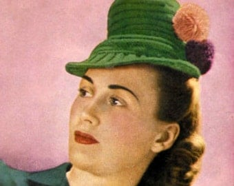 1940s Pom Pom Tilt Hat Vintage Knitting Pattern pdf Instant Download
