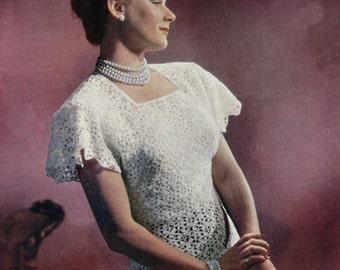 Blouse Lace Shell Vintage Crochet pattern PDF 1940s in Motif Lace Instant Download