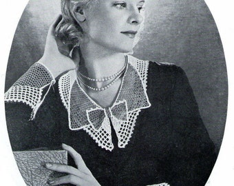 Crochet Pattern Collar and Cuff lace Set  1933 pdf Instant Download