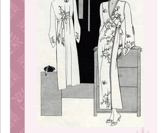 Embroidered Kimono 1933 Vintage Sewing Pattern PDF Lingerie Boudoir Instant Download