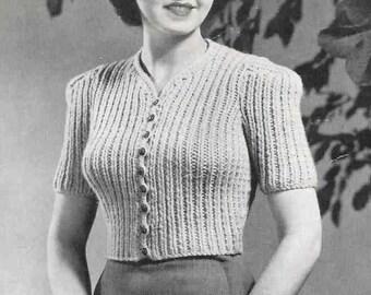 Ladies Cardigan Coat or Jacket 1940s 34 bust  Vintage Knitting Pattern Pdf