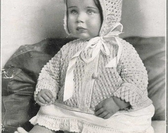 Baby Bonnet Jacket 1928 Vintage Knitting Pattern Pdf Instant Download