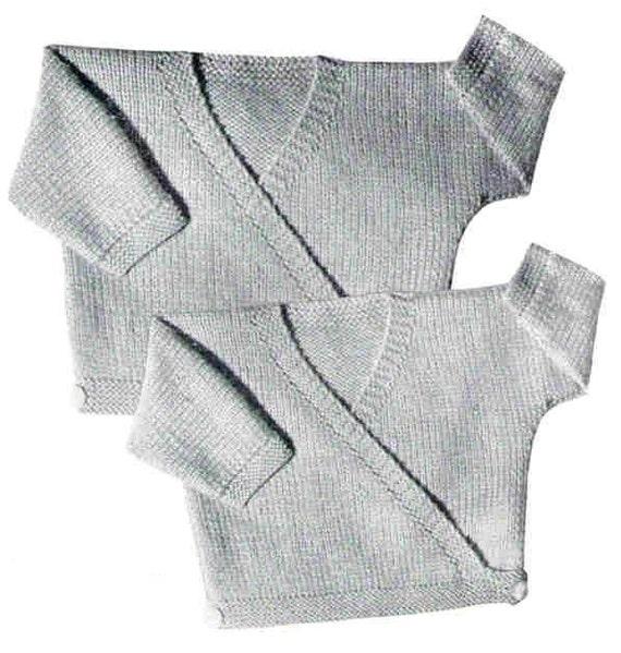 Cardigan Baby Cross Over Jacket 1950s Vintage Knitting Pattern  pdf