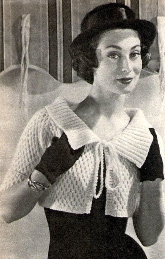 Free Knitting Patterns Shrugs Boleros : PDF Vintage Knitting Pattern Ladies Bolero Shrug Jacket