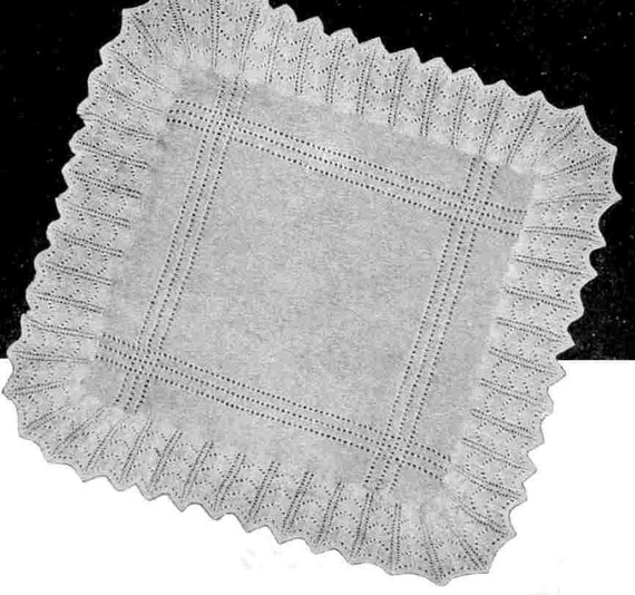 Knitting Pattern For Round Baby Shawl : Items similar to Baby Shawl Lace Vintage Knitting Pattern 1934 pdf My First B...