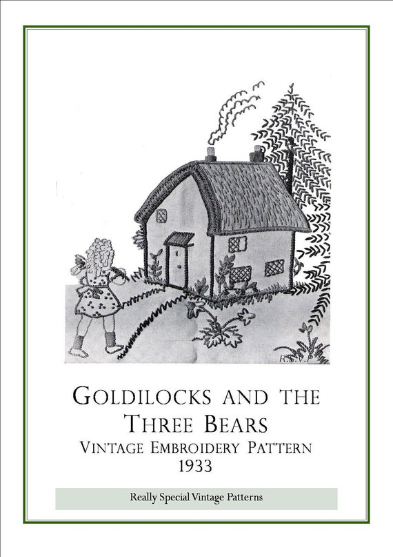 Goldilocks and  Three Bears Pdf Vintage Pattern Embroidery Design Transfer 1933 Instant Download