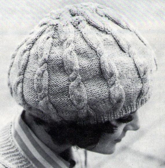 Slouch Hat Bonny Cable Beret 1960s Pdf Vintage by PamoolahVintage