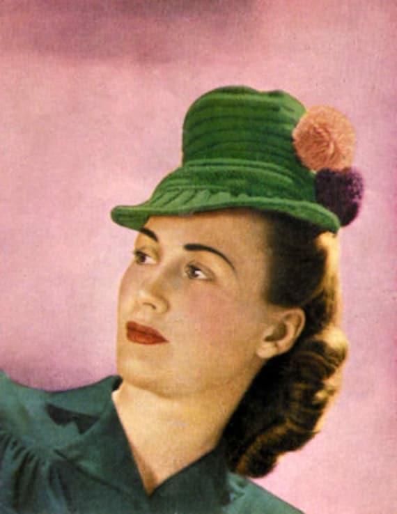 1940s Pom Pom Tilt Hat Vintage Knitting Pattern pdf INSTANT DOWNLOAD  from Pamoolah Vintage