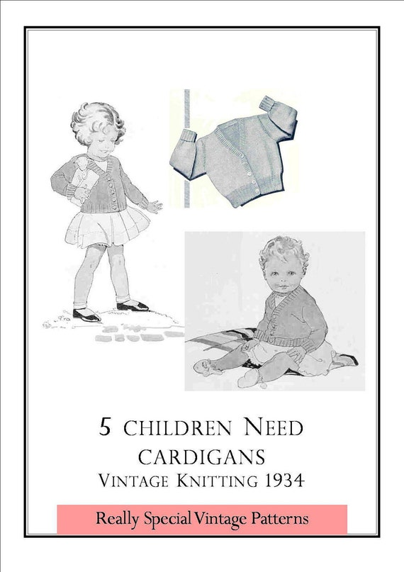 1930s Baby Classic Cardigans 5 Sizes Vintage Knitting Pattern  PDF INSTANT DOWNLOAD