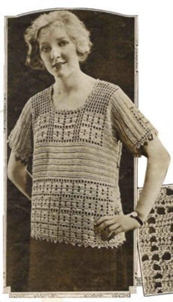 Downton Jumper 1920s Vintage Crochet Pattern Tunic Sweater in