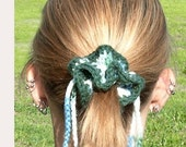 Greens Crochet Hair Scrunchie w/ Drawstring