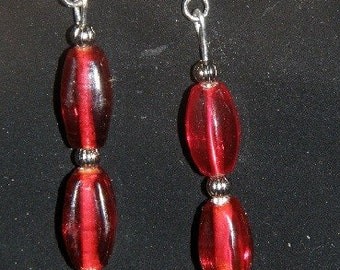 Pair of Red and Silver Beaded FLOWER Dangle Earrings