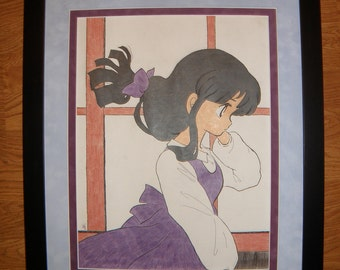 Custom Framed Purple Shojo Girl Japanese Anime  Colored Pencil Original Drawing
