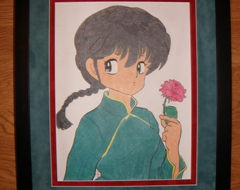 ROSE Shojo Girl Japanese Anime Custom Framed Colored Pencil Original Drawing