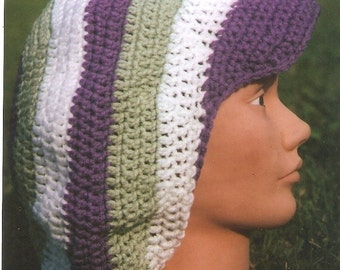 Brilliant Banded Crochet Tam w/ Brim