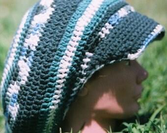 Multi-Greens Crochet Tam w/ Brim Size XL