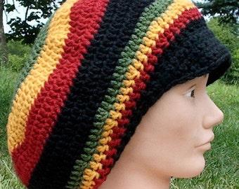 Rasta Colors Crochet Tam w\/ Brim Custom Made To Order