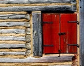 SPECIAL ORDER for BonBini - 24 in x 36 in - old michigan building in summer - red window log wall photo