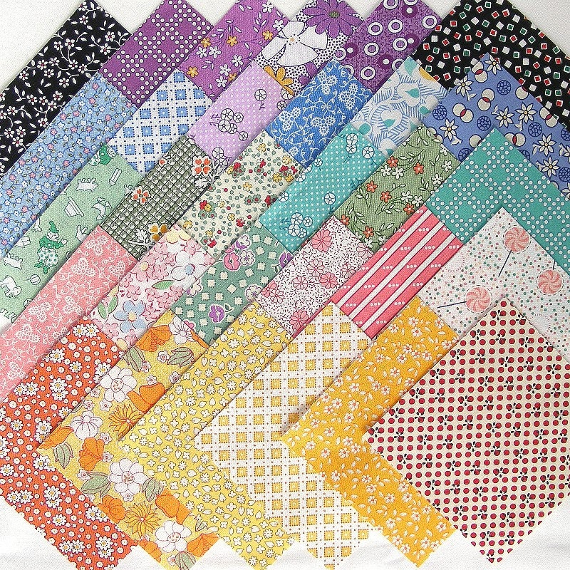 Quilt Patterns 4 Different Fabrics : 1930s FEEDSACK REPRO Quilt Fabric Squares 30 4 Inch by SewNimble