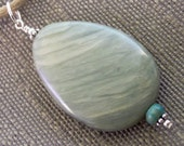 Zhuxi Turquoise Greenline Quartz Sterling Pendant Cord Necklace