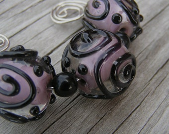 HowFunIsThat - 3 Handmade Lampwork Beads - Bit O' Purple  -  SRA