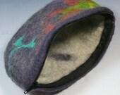Felt Coin Purse, Pouch, Clutch, Makeup Bag, zipper, handmade, OOAK, Wet Felted, Lovely colors