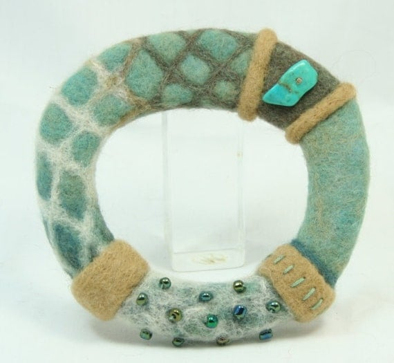 Turquoise Needle Felted Bangle