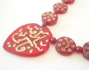 Moons and Stars - a gorgeous necklace of ruby red African Glass Prayer Beads - 25 inches, 66 beads