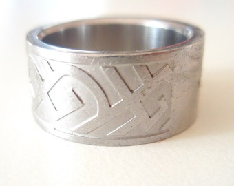 Vintage Steel Tribal Cuff Ring