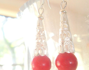 Tibetan Coral Bead Earrings with Sterling Silver