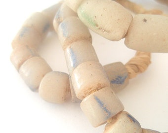 Cast in Sand - African Trade Beads from Ghana - Blue Stripes - 26 inches - 60 beads