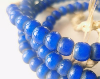 Cobalt White Hearts - a rich strand of African Trade Beads - 26 inches, 140 beads