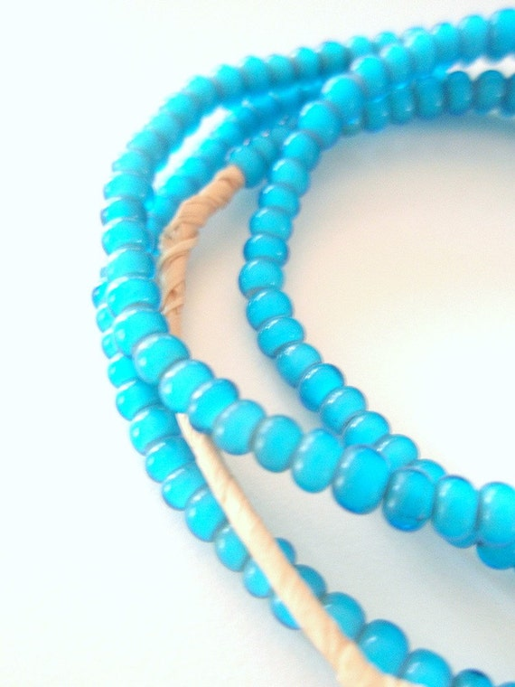 Little Turquoise White Hearts - a luminescent strand of African Trade Beads - 26 inches, 150 beads