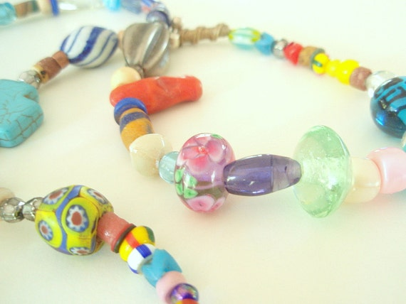 African Story - a collection of Trade Beads spanning 150 years - 32 inches, 150 beads