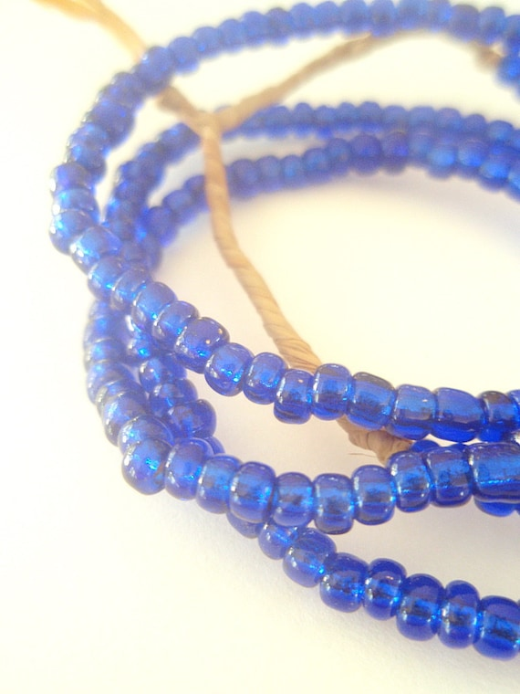 Cobalt Glass - a mystical strand of African Trade Beads - 26 inches, 200 beads