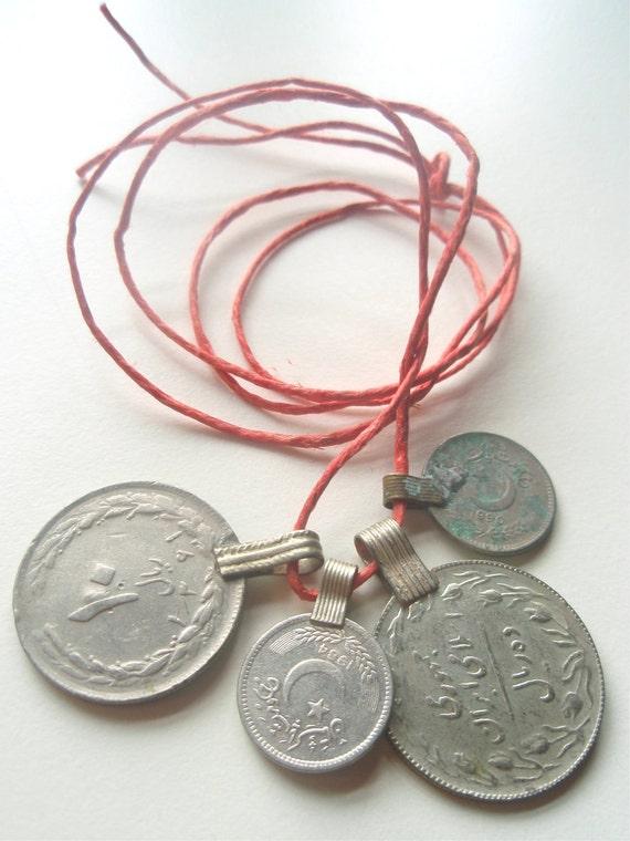 Antique Coin Pendants - set of 4