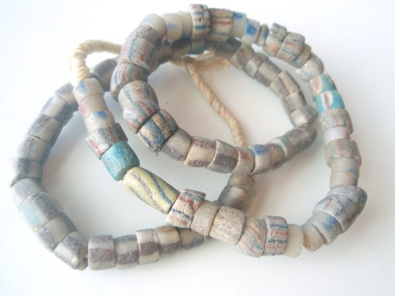Cardamon and Turquoise Stripes - Ghana Sandcast Beads from The African Trade - 23 inches, 52 beads